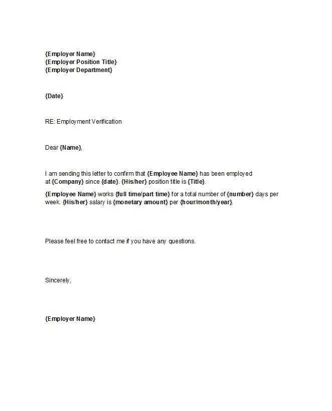 proof of employment letter 25 - Employment Proof Letter