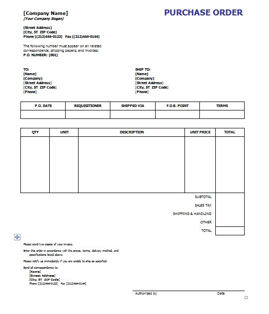 39 Free Purchase Order Templates In Word & Excel – Free Template