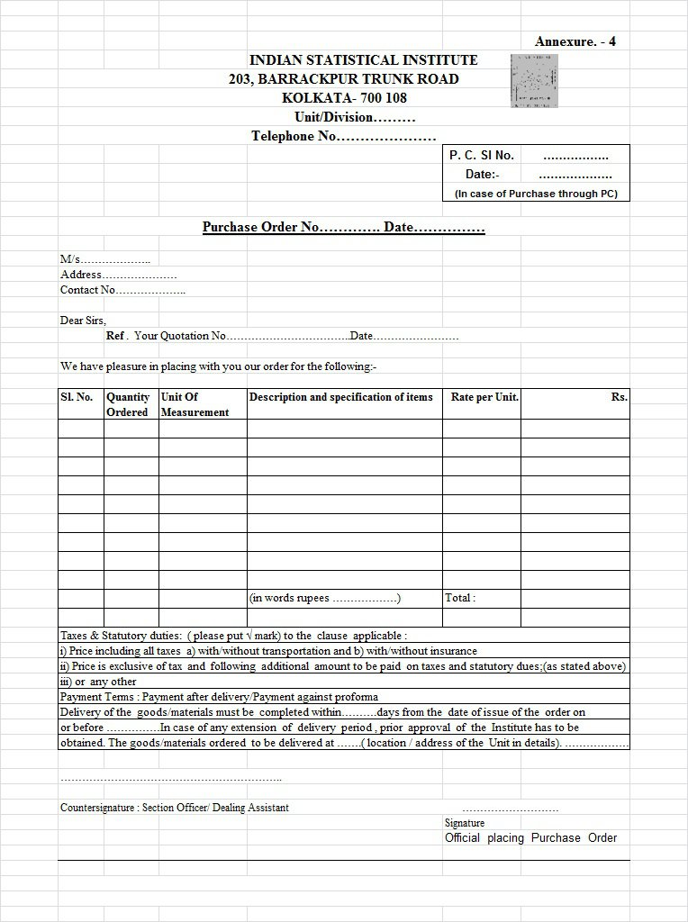 Free Purchase Order Templates In Word Excel Free Template