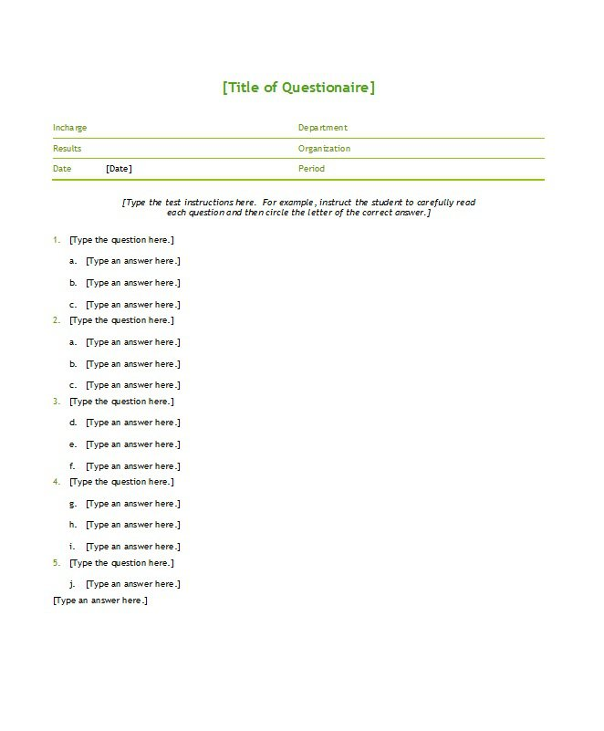 Free Questionnaire Templates Word  Free Template Downloads