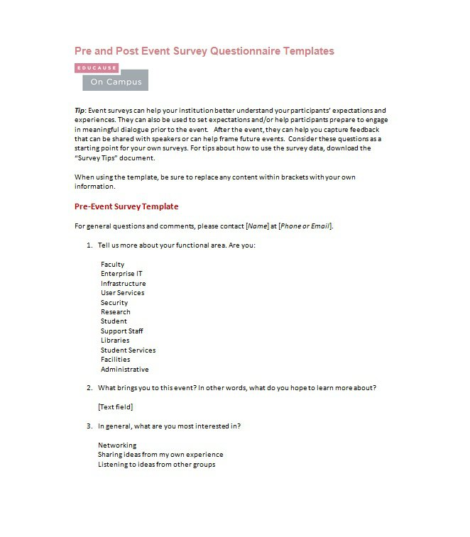 33 Free Questionnaire Templates (Word) - Free Template ...
