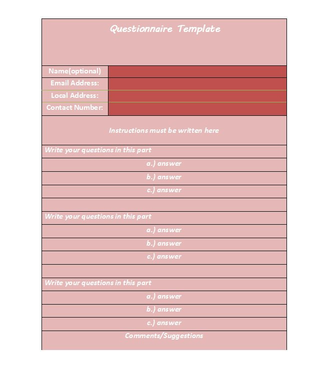 questionnaire-template-28
