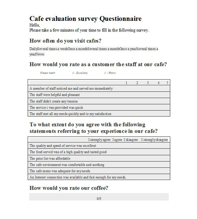 Survey Report Template Questionnaire Template Questionnaire