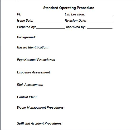 37 Best Free Standard Operating Procedure Sop Templates Free