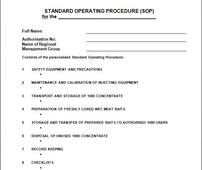 Best Free Standard Operating Procedure Sop Templates  Free
