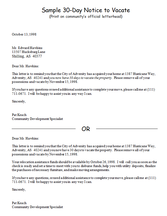 Sample_30 Day_notice_to_vacate  Landlord Eviction Notice Letter
