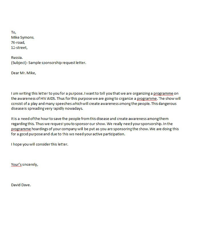 43 Free Sponsorship Letter Sponsorship Proposal Templates Free – Sample of a Sponsorship Letter