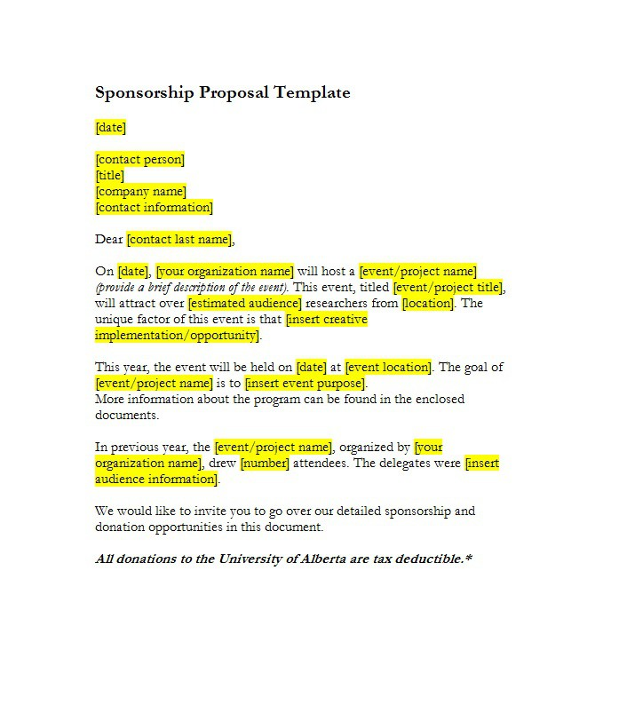 Event The Sponsorship Proposal Template Can Help You Make A – Free Sponsorship Letter
