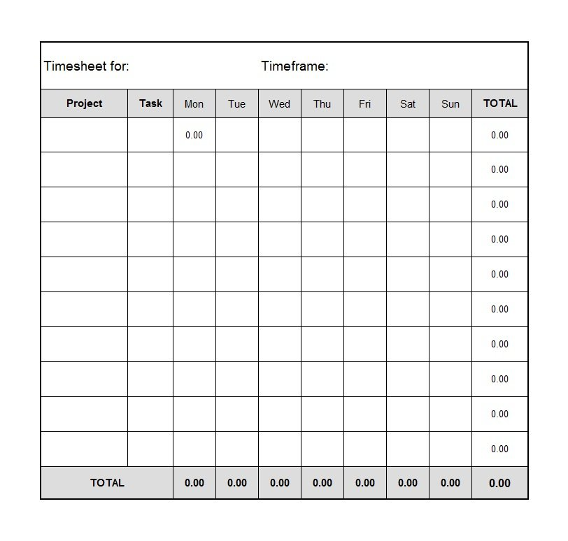 Printable Time Sheet. Contractor Weekly Timesheet Template