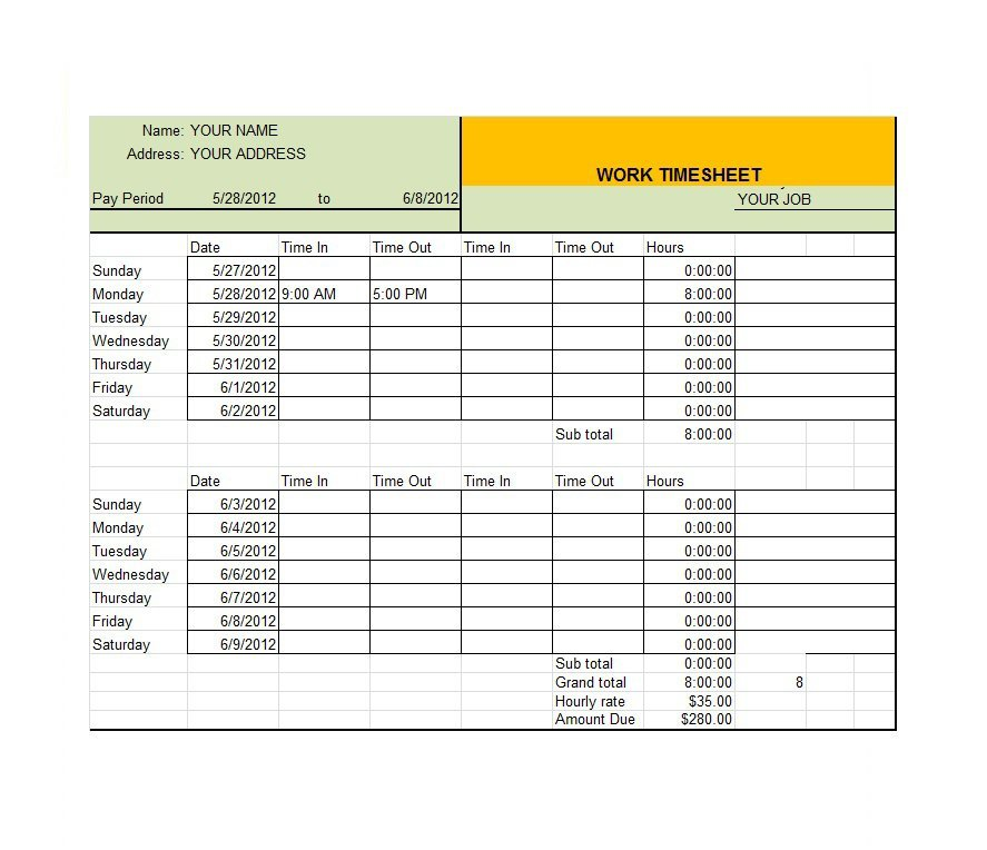 Free Timesheet  Time Card Templates  Free Template Downloads