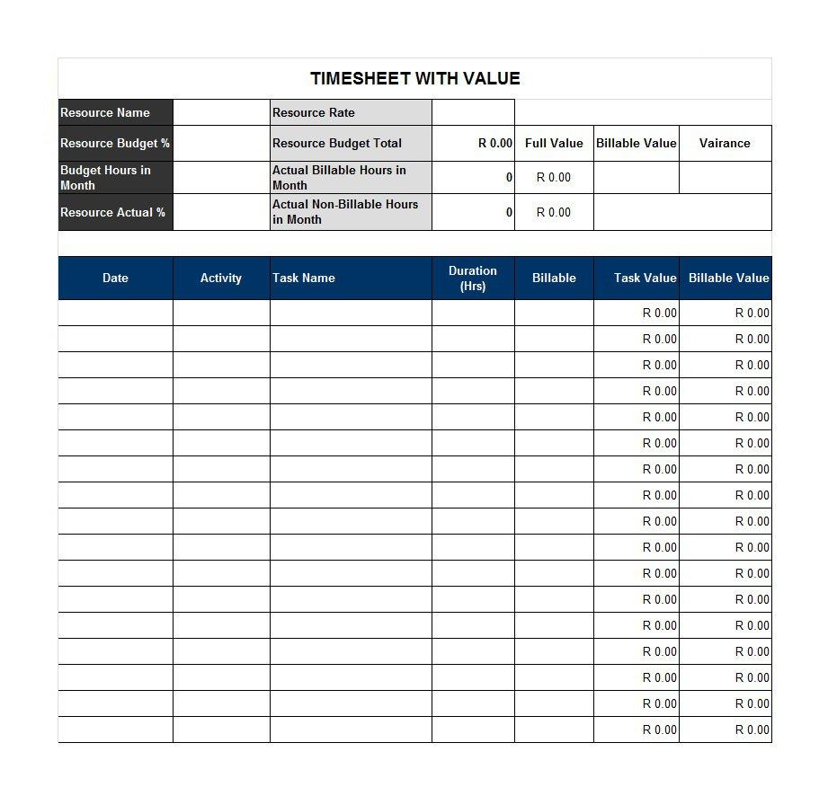 41 free timesheet    time card templates