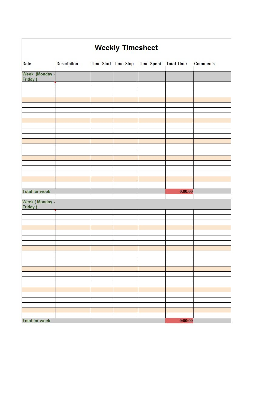 41 free timesheet time card templates free template