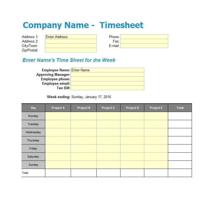 Project Timesheet Template Excel Mandegarfo