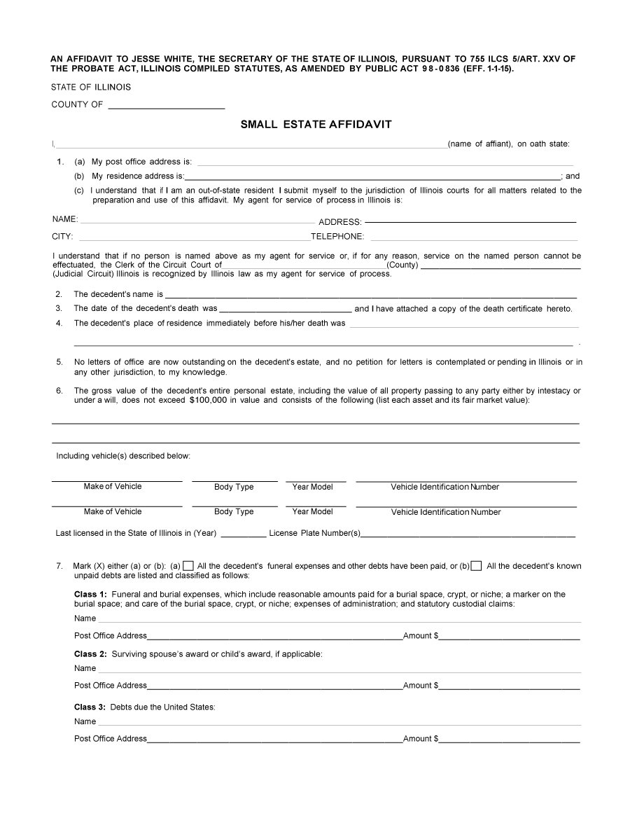 Affidavit Form 41  General Affidavit Sample
