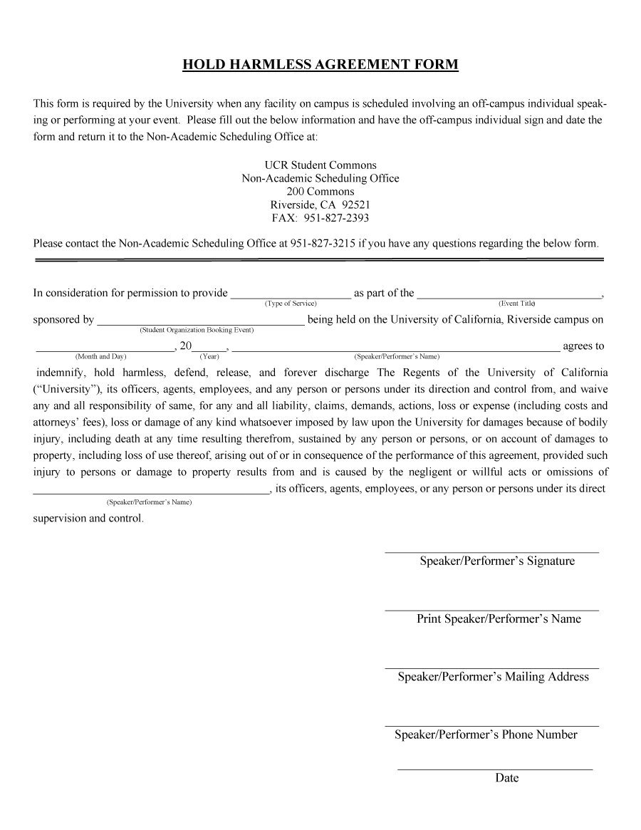 41 Free Hold Harmless Agreement Templates (Free) – Free ...
