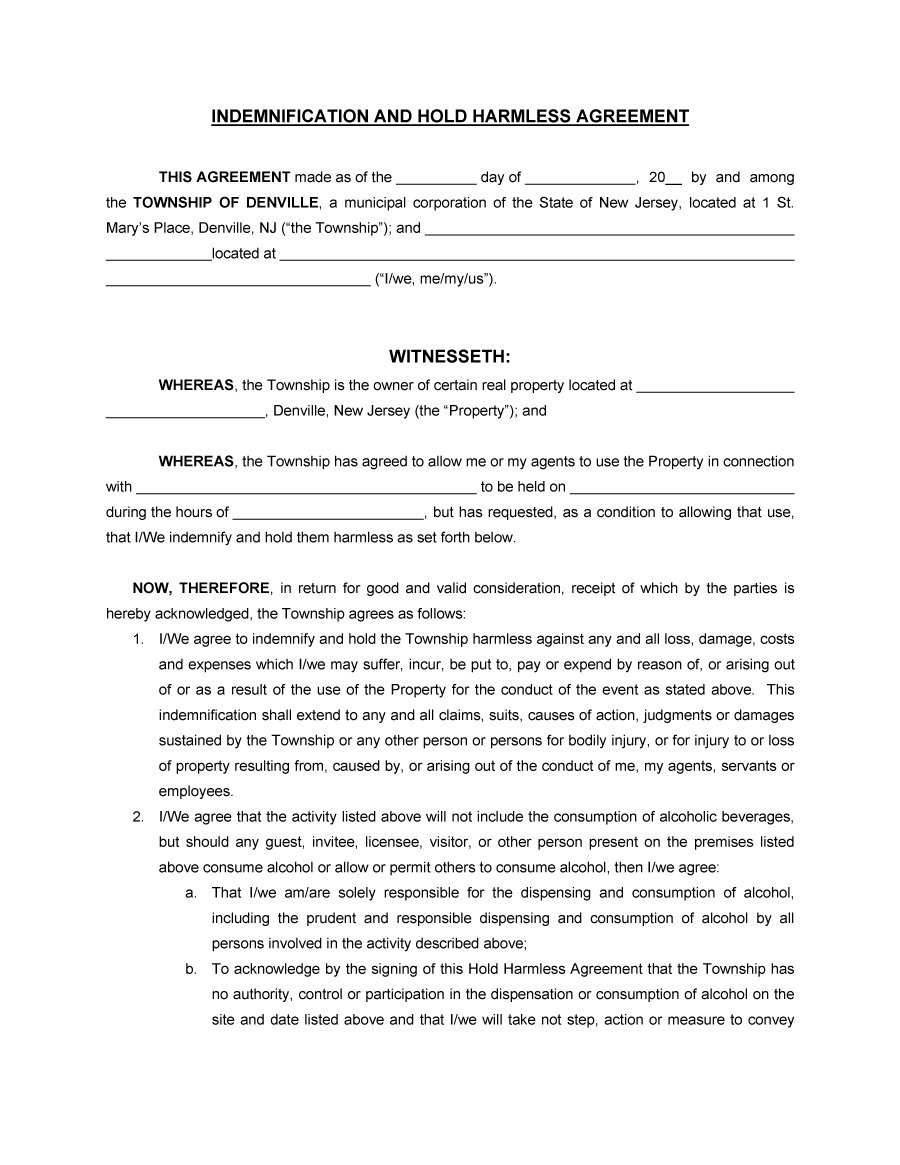 Hold Harmless Agreement Template 11  Contract Between Two People