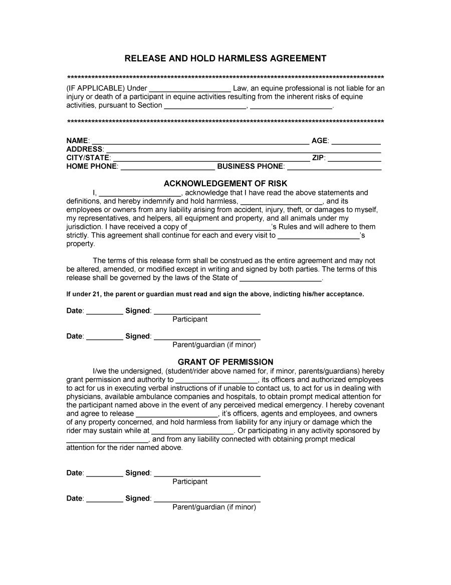 41 Free Hold Harmless Agreement Templates (Free) - Free ...