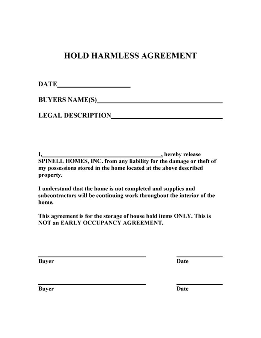 41 Free Hold Harmless Agreement Templates (Free) – Free Template ...