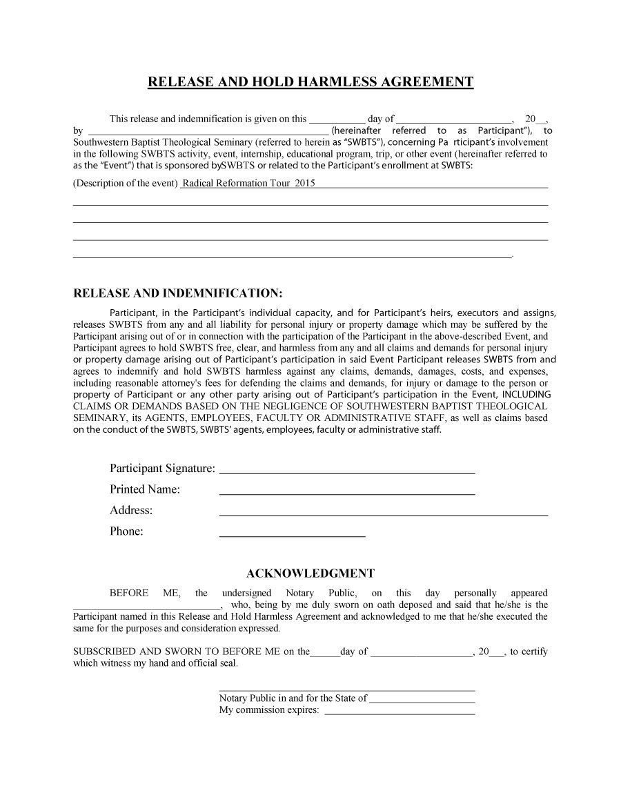 41 Free Hold Harmless Agreement Templates Free – Free