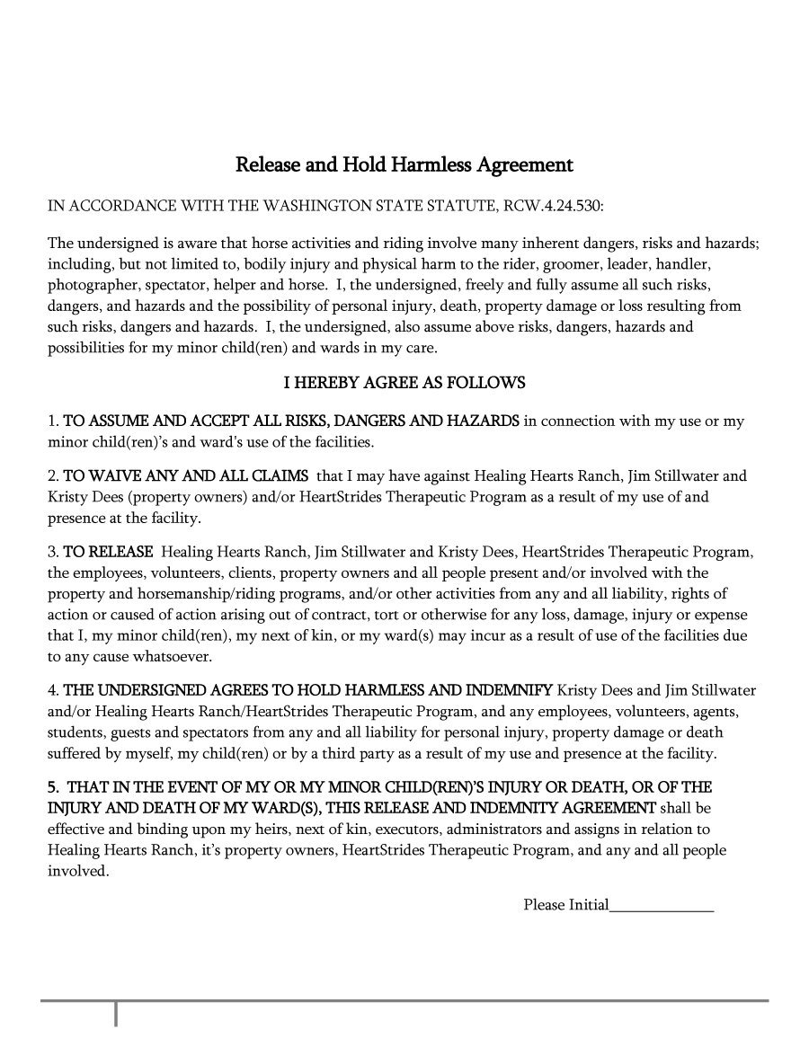 Hold Harmless Agreement Template 32  Free Liability Waiver Form Template