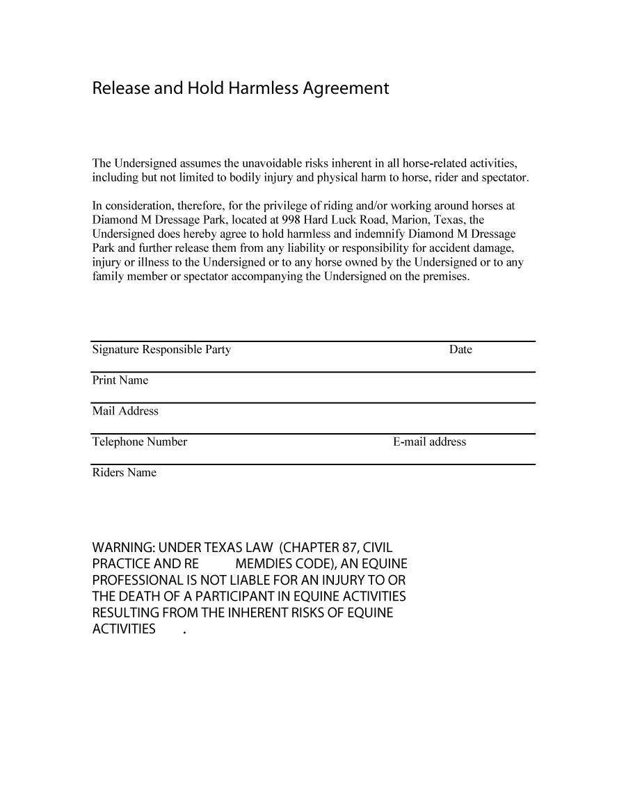 hold harmless template - 28 images - hold harmless agreement, 12 ...