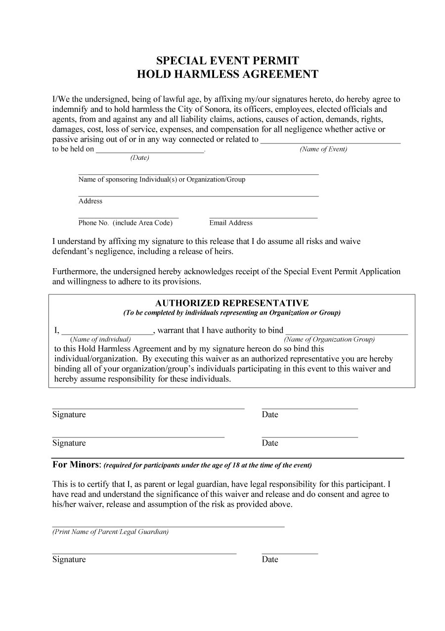 Hold Harmless Agreement Template 41