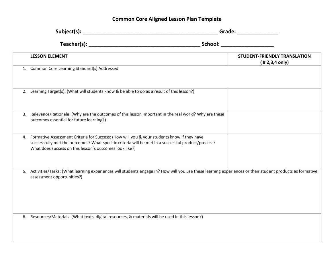 44 free lesson plan templates common core preschool for Field trip lesson plan template