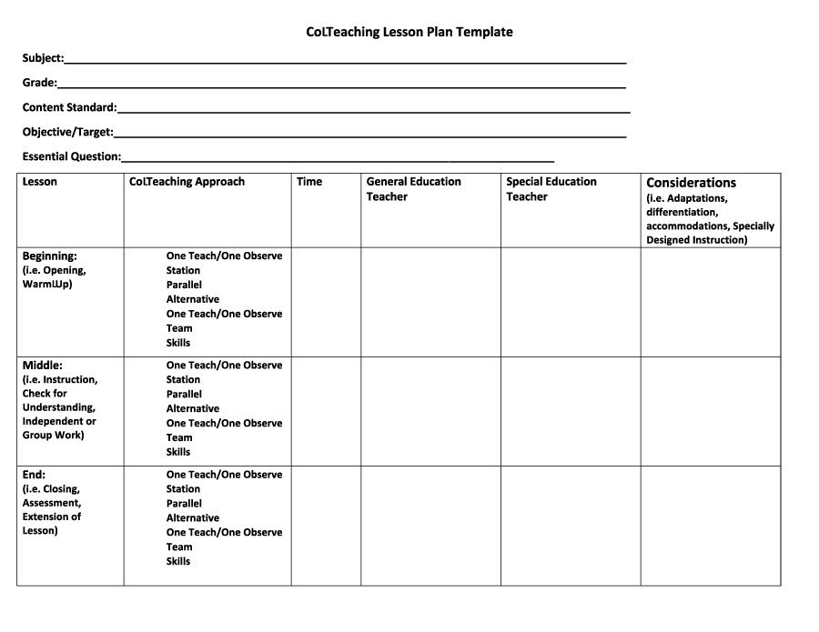 44 free lesson plan templates common core preschool weekly free template downloads for How to design a lesson plan template