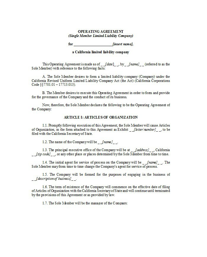 30 Free Professional Llc Operating Agreement Templates – Free