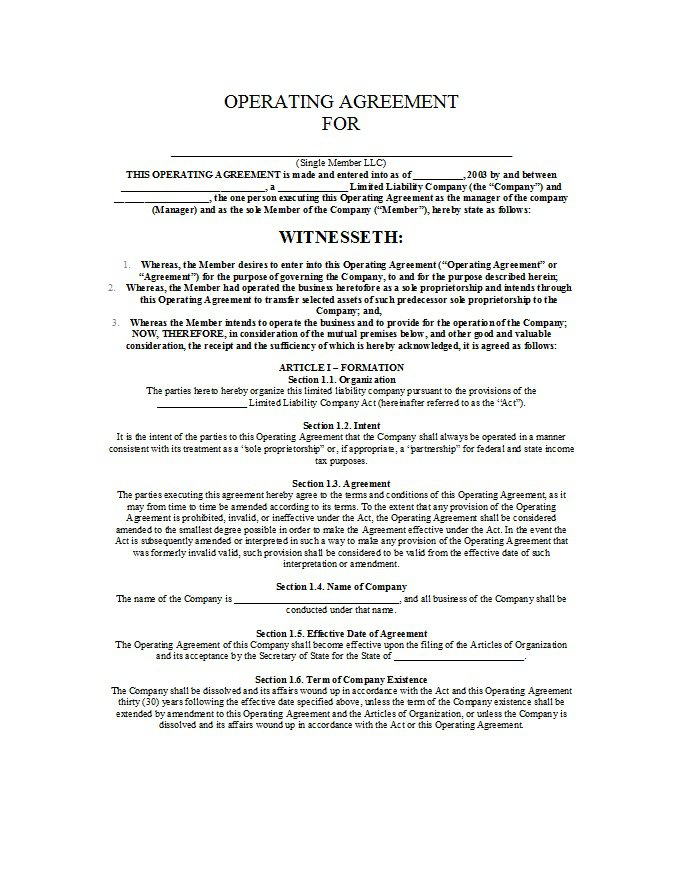 Free Professional Llc Operating Agreement Templates  Free