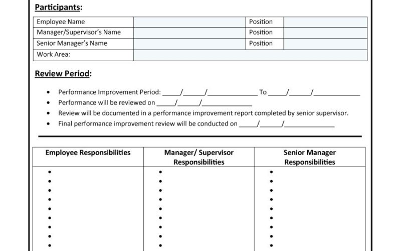 Planner Templates Free Template Downloads – Sample Employee Performance Improvement Plan Template
