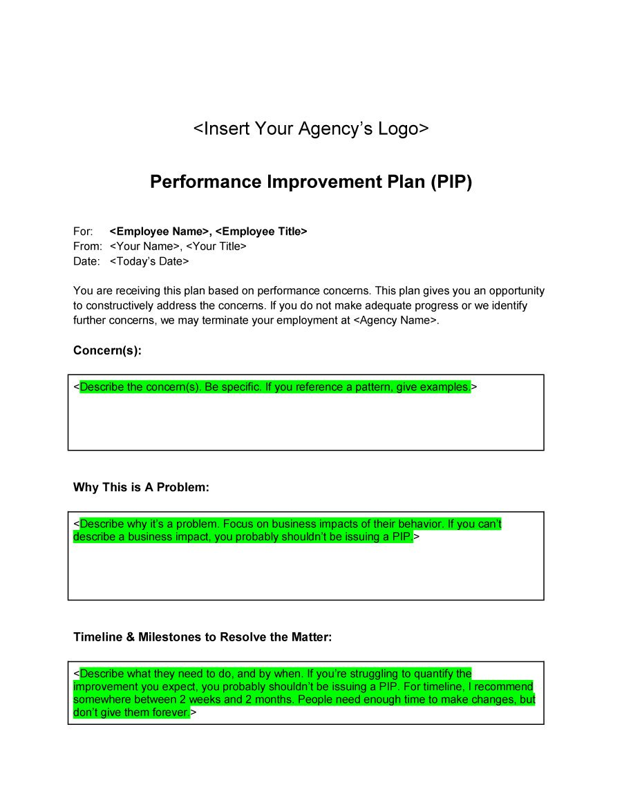 Performance Improvement Plan Template 25  Employee Performance Improvement Plan Template
