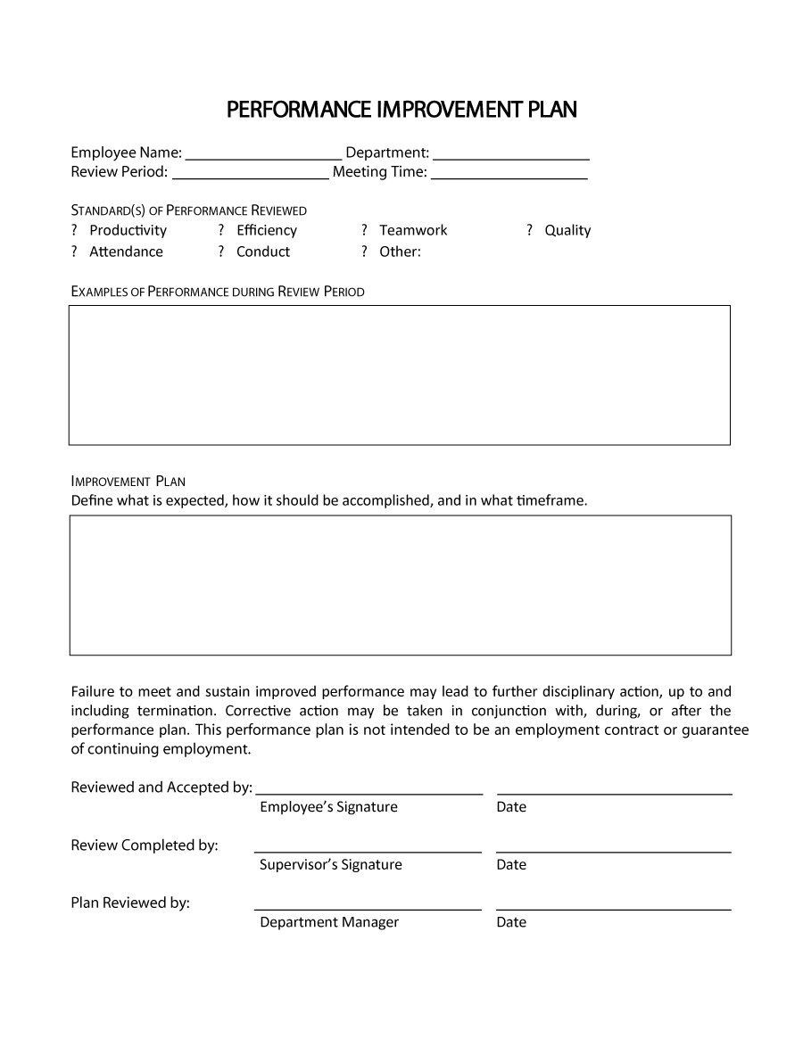 Termination Letter Format Poor Performance patriotexpressus nice – Sample Employee Performance Improvement Plan Template