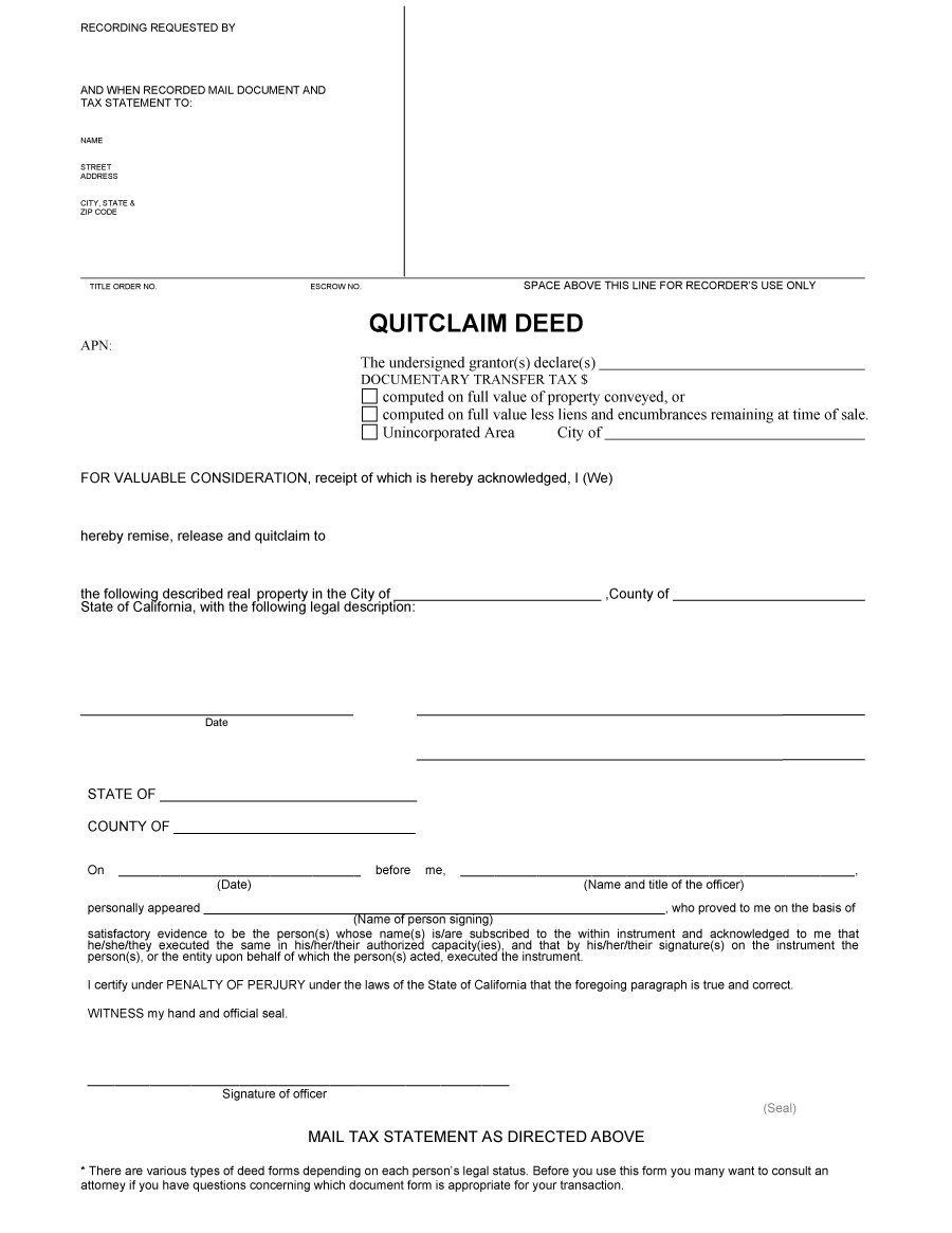 photo regarding Free Printable Blank Quit Claim Deed Form titled 47 Totally free Halt Declare Deed Sorts Templates - Cost-free Template