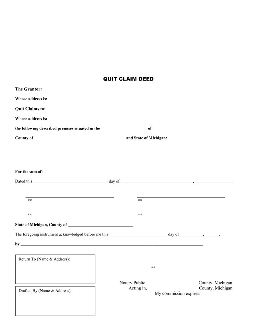 47 Free Quit Claim Deed Forms & Templates – Free Template Downloads