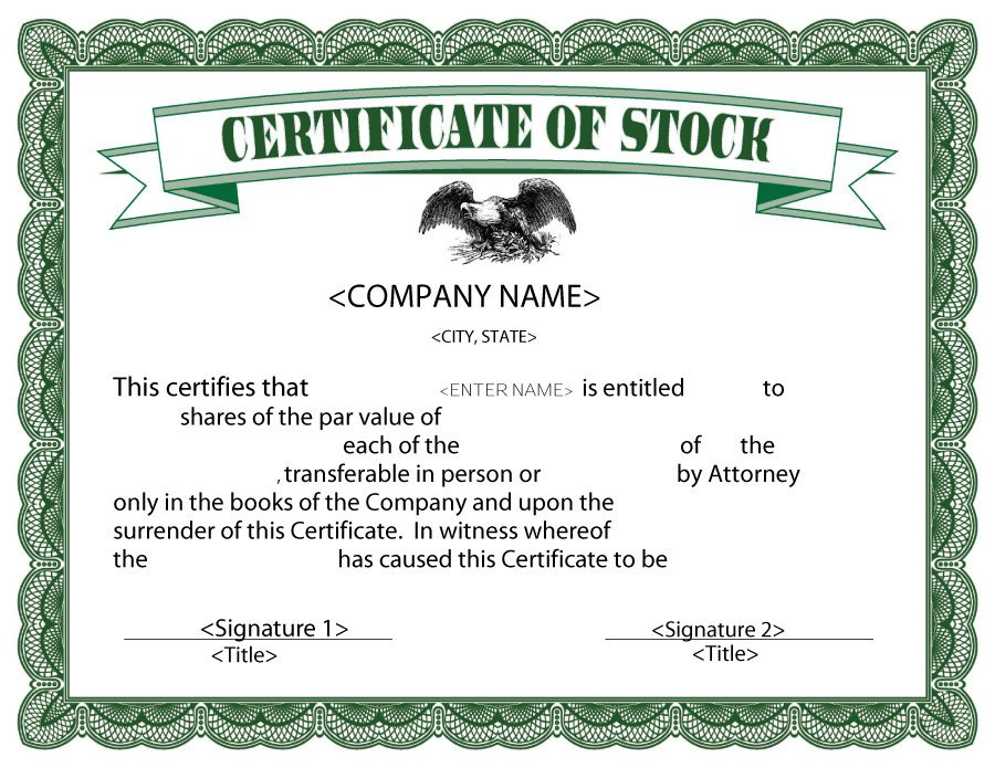 Stock Certificate Template 04  Award Templates Word