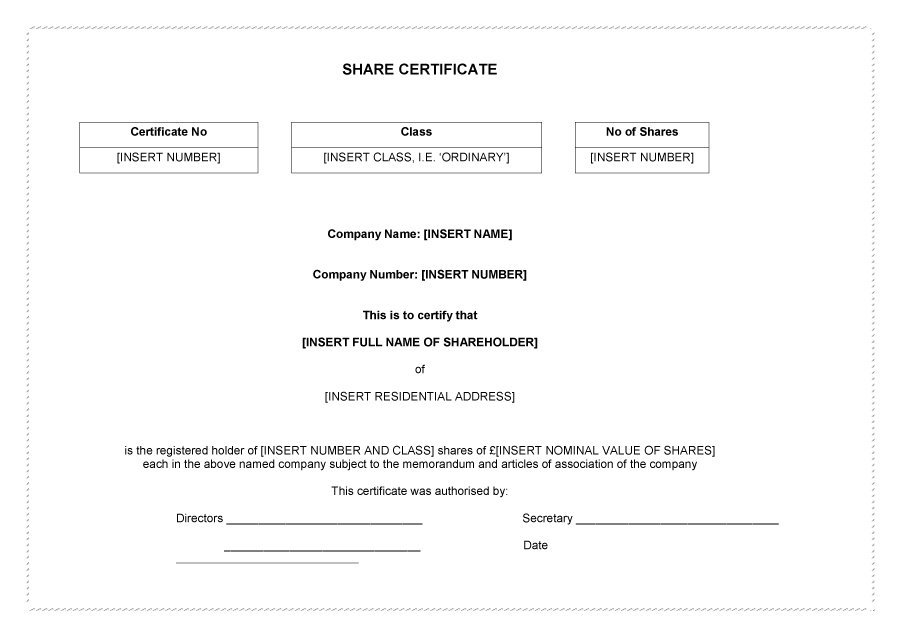 Free Stock Certificate Templates Word Pdf  Free Template