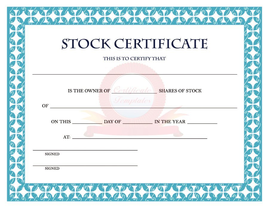 Printable stock certificates with free templates and