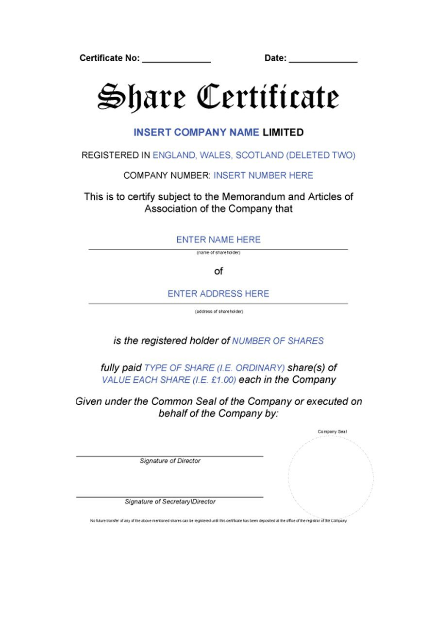 Share Certificate Template vendor agreement template to do list – Share Certificate Template Uk