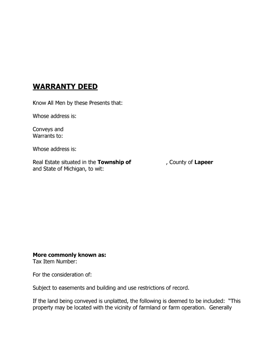 43 Free Warranty Deed Templates & Forms (General, Special) – Free ...