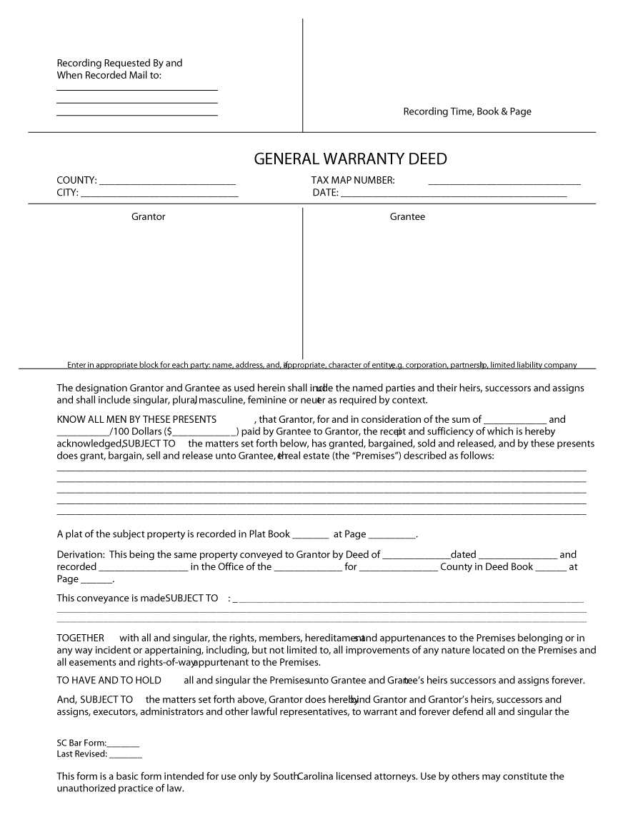43 Free Warranty Deed Templates Forms General Special Free – General Warranty Deed