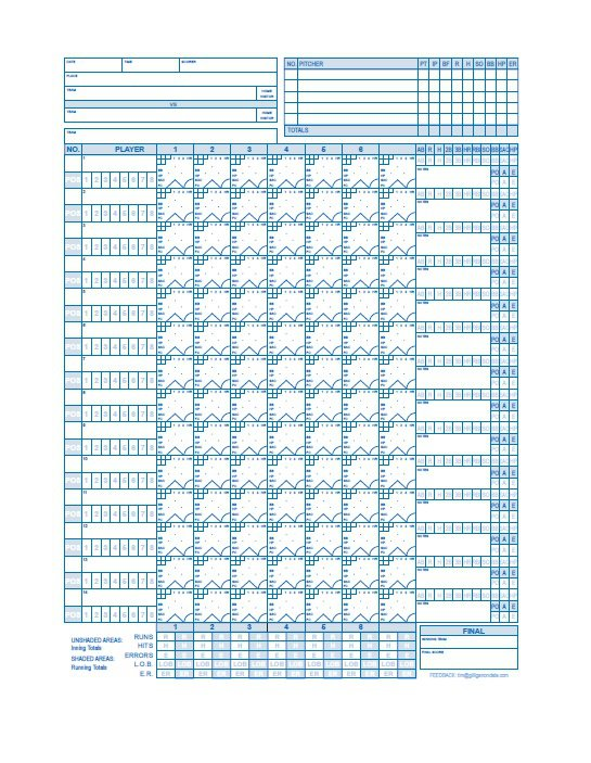 Smart image within baseball scoring sheet printable