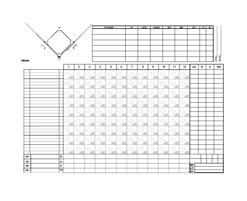 30 Printable Baseball Scoresheet Scorecard Templates Free – Baseball Scoresheet