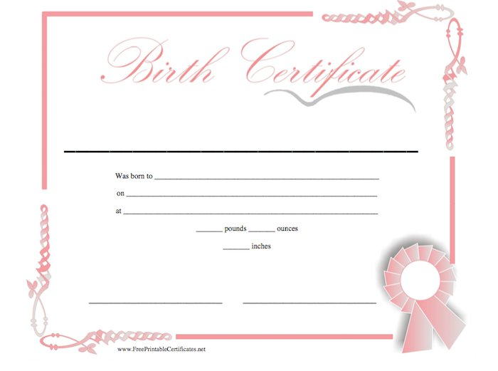 15 birth certificate templates word pdf free for Fake birth certificate template free download