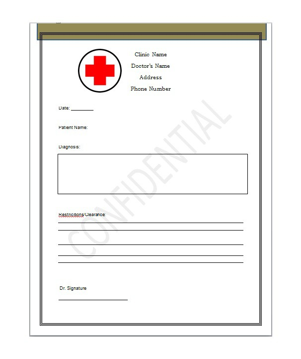 27 free doctor note excuse templates free template for Fake dr note template free