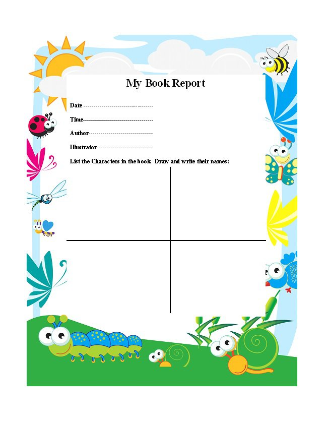 Book Report Templates  Reading Worksheets  Free Template Downloads