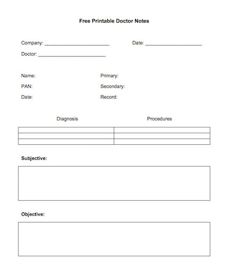 medical notes template