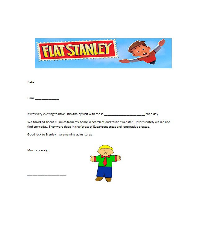 Flat Stanley Templates  Letter Examples  Free Template Downloads