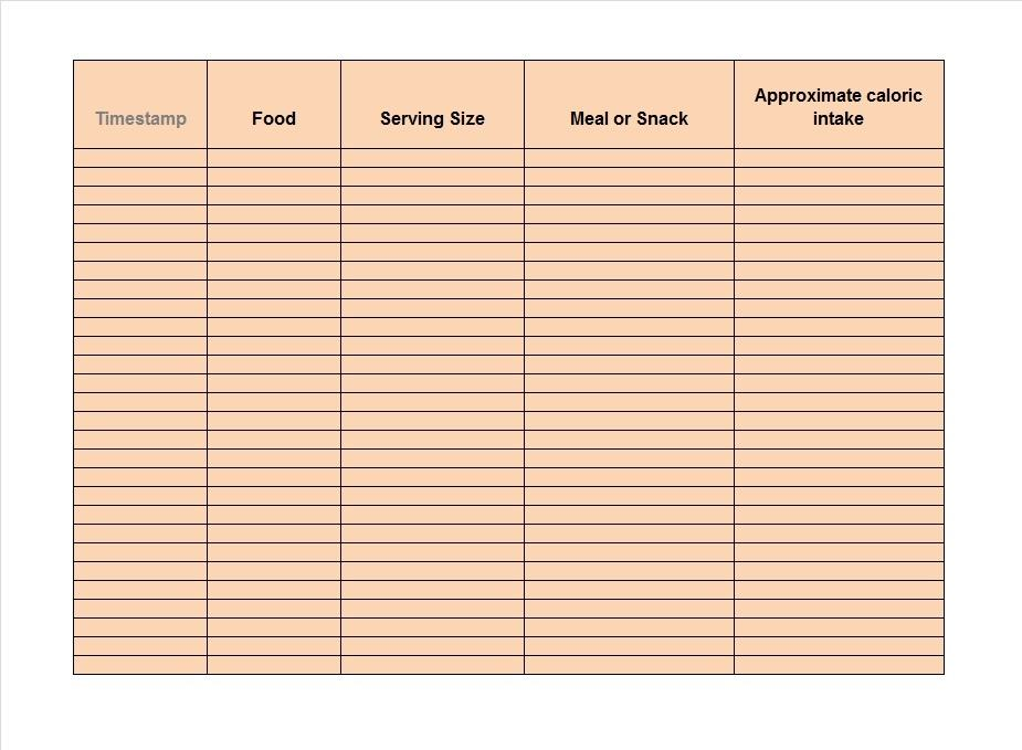 food diary templates food log examples free template downloads