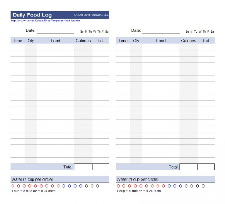 Food Log Template Weekly Food Journal Template  Template Lined